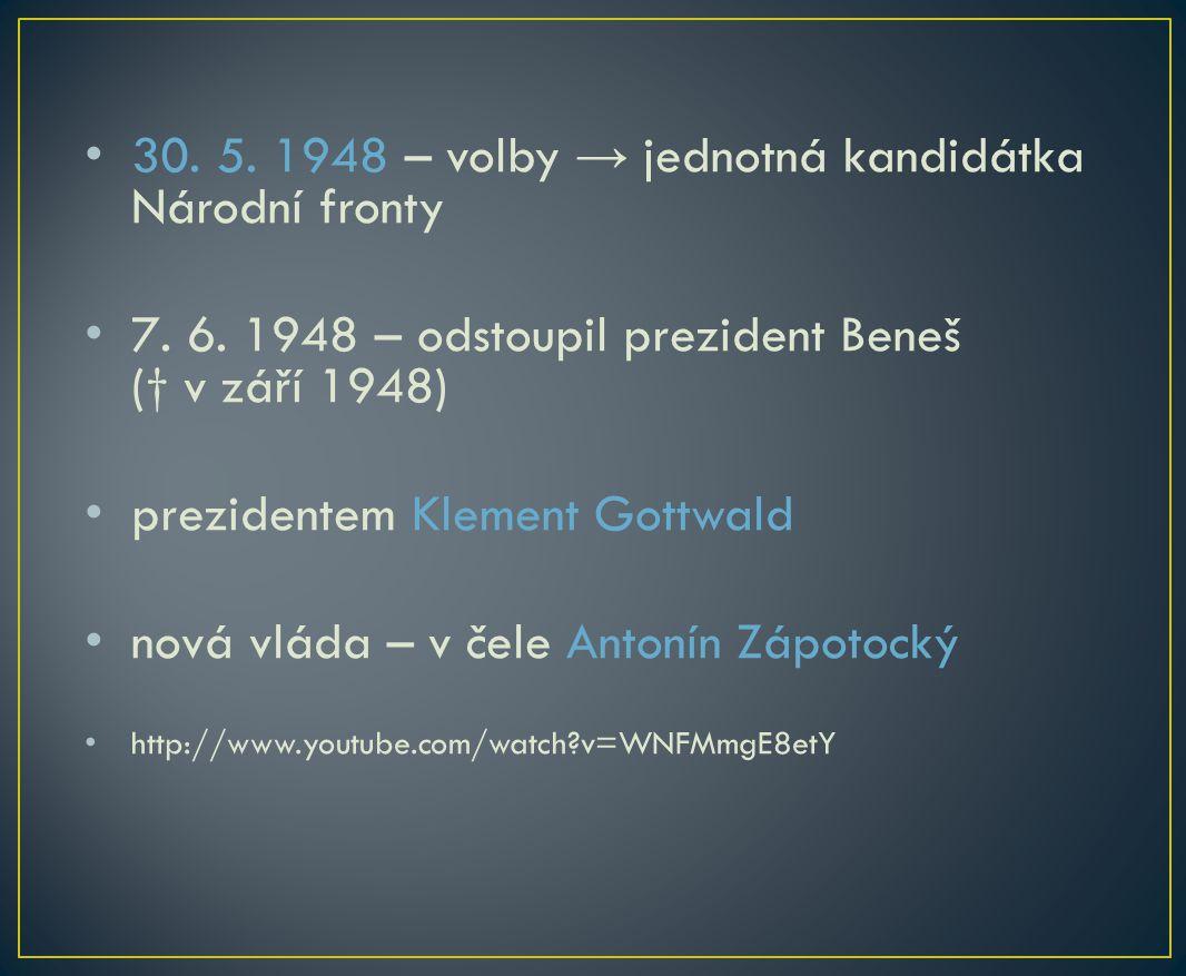 30. 5. 1948 – volby → jednotná kandidátka Národní fronty 7.