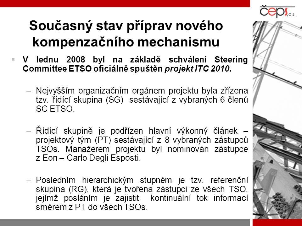 Současný stav příprav nového kompenzačního mechanismu  V lednu 2008 byl na základě schválení Steering Committee ETSO oficiálně spuštěn projekt ITC 20