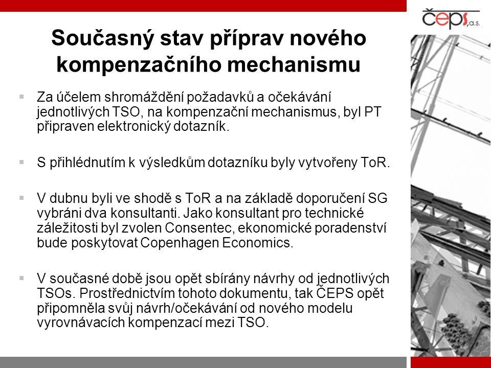  Za účelem shromáždění požadavků a očekávání jednotlivých TSO, na kompenzační mechanismus, byl PT připraven elektronický dotazník.  S přihlédnutím k