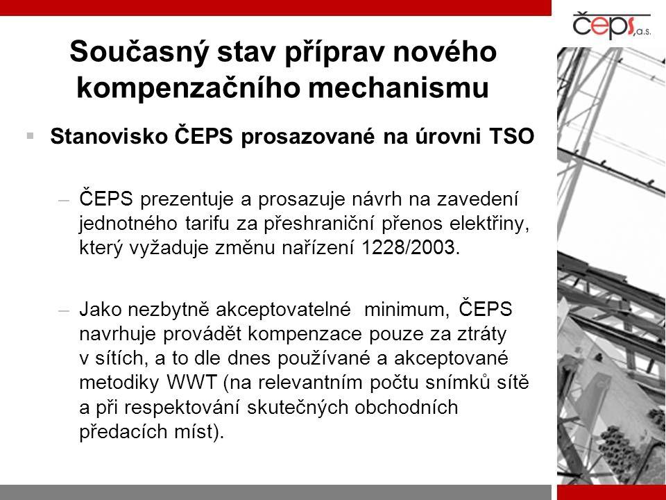  Stanovisko ČEPS prosazované na úrovni TSO –ČEPS prezentuje a prosazuje návrh na zavedení jednotného tarifu za přeshraniční přenos elektřiny, který v