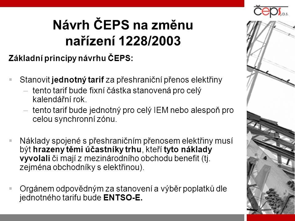 Návrh ČEPS na změnu nařízení 1228/2003 Základní principy návrhu ČEPS:  Stanovit jednotný tarif za přeshraniční přenos elektřiny –tento tarif bude fix