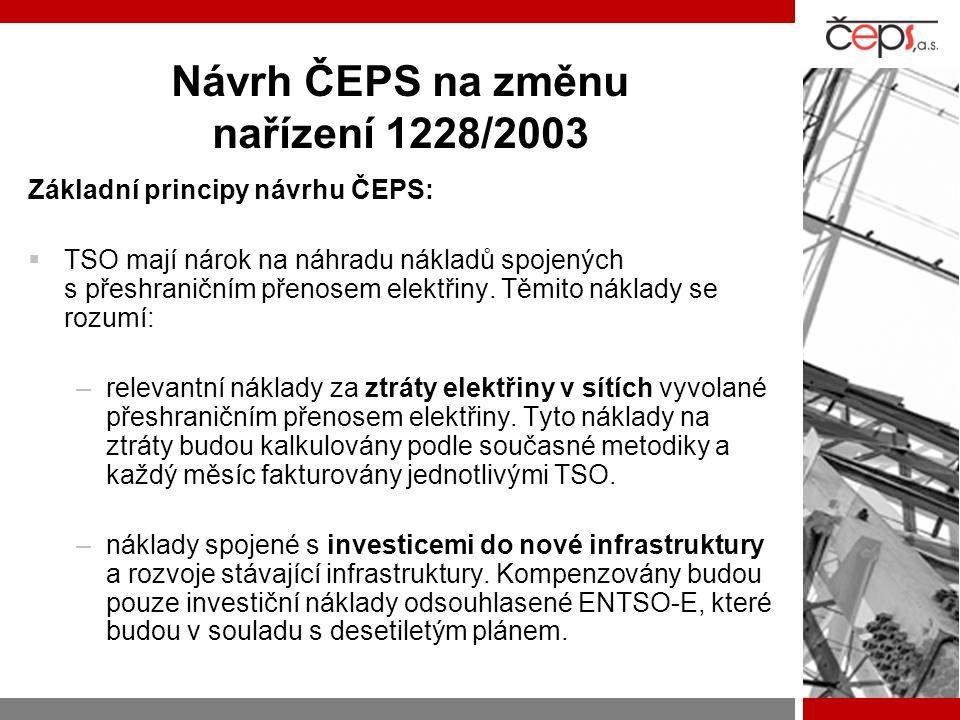 Návrh ČEPS na změnu nařízení 1228/2003 Základní principy návrhu ČEPS:  TSO mají nárok na náhradu nákladů spojených s přeshraničním přenosem elektřiny