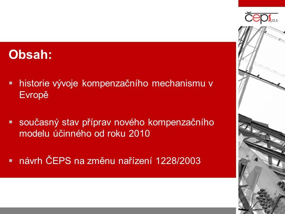 Obsah:  historie vývoje kompenzačního mechanismu v Evropě  současný stav příprav nového kompenzačního modelu účinného od roku 2010  návrh ČEPS na z