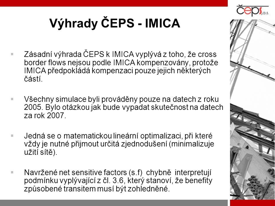 Výhrady ČEPS - IMICA  Zásadní výhrada ČEPS k IMICA vyplývá z toho, že cross border flows nejsou podle IMICA kompenzovány, protože IMICA předpokládá k