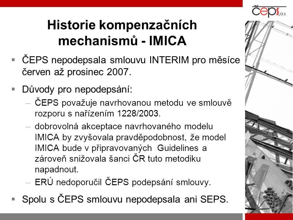 Historie kompenzačních mechanismů - IMICA  ČEPS nepodepsala smlouvu INTERIM pro měsíce červen až prosinec 2007.  Důvody pro nepodepsání: –ČEPS považ