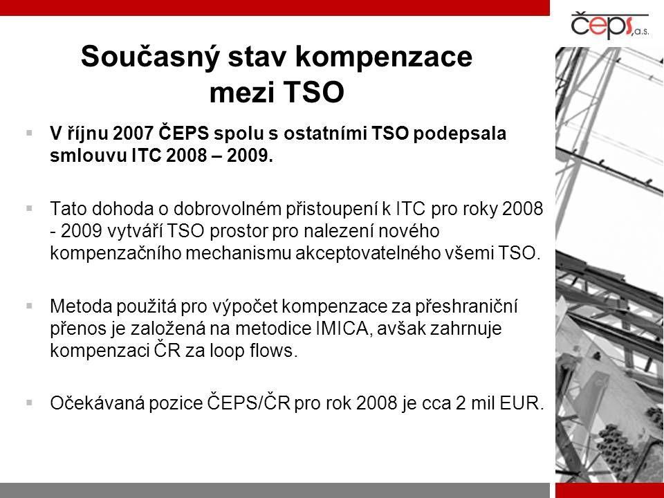Současný stav kompenzace mezi TSO  V říjnu 2007 ČEPS spolu s ostatními TSO podepsala smlouvu ITC 2008 – 2009.  Tato dohoda o dobrovolném přistoupení