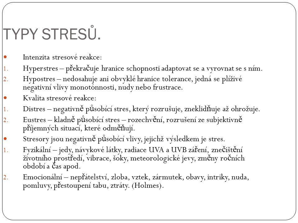 TYPY STRESŮ. Intenzita stresové reakce: 1. Hyperstres – p ř ekra č uje hranice schopnosti adaptovat se a vyrovnat se s ním. 2. Hypostres – nedosahuje