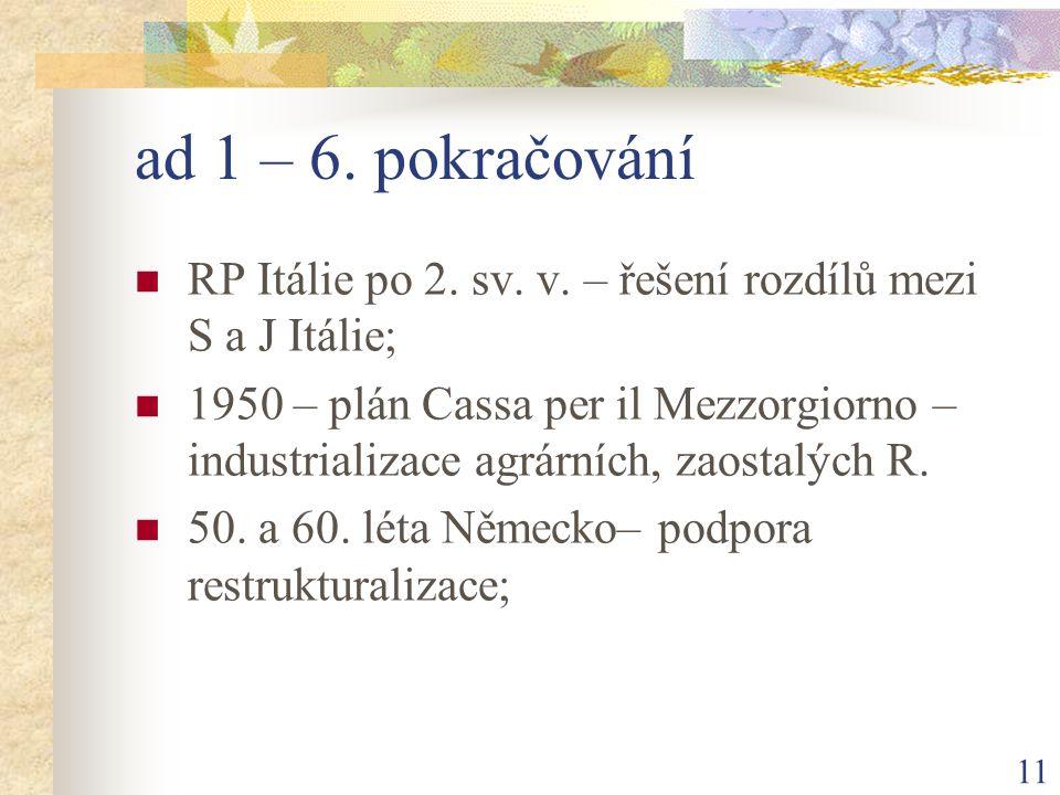 11 ad 1 – 6. pokračování RP Itálie po 2. sv. v.