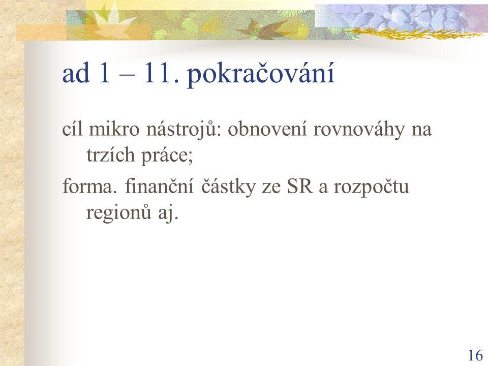 16 ad 1 – 11. pokračování cíl mikro nástrojů: obnovení rovnováhy na trzích práce; forma.