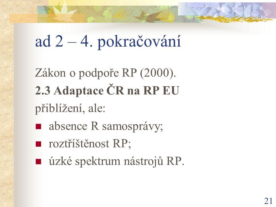 21 ad 2 – 4. pokračování Zákon o podpoře RP (2000).