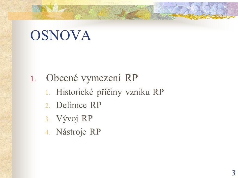 3 OSNOVA 1. Obecné vymezení RP 1. Historické příčiny vzniku RP 2.