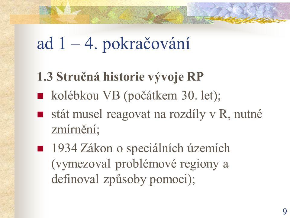 9 ad 1 – 4. pokračování 1.3 Stručná historie vývoje RP kolébkou VB (počátkem 30.
