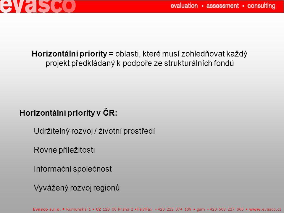 Horizontální priority = oblasti, které musí zohledňovat každý projekt předkládaný k podpoře ze strukturálních fondů Evasco s.r.o.
