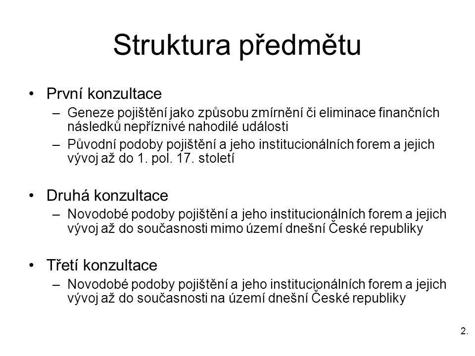 2.2. Struktura předmětu První konzultace –Geneze pojištění jako způsobu zmírnění či eliminace finančních následků nepříznivé nahodilé události –Původn