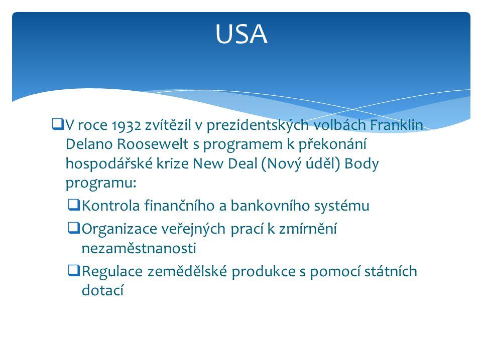  V roce 1932 zvítězil v prezidentských volbách Franklin Delano Roosewelt s programem k překonání hospodářské krize New Deal (Nový úděl) Body programu
