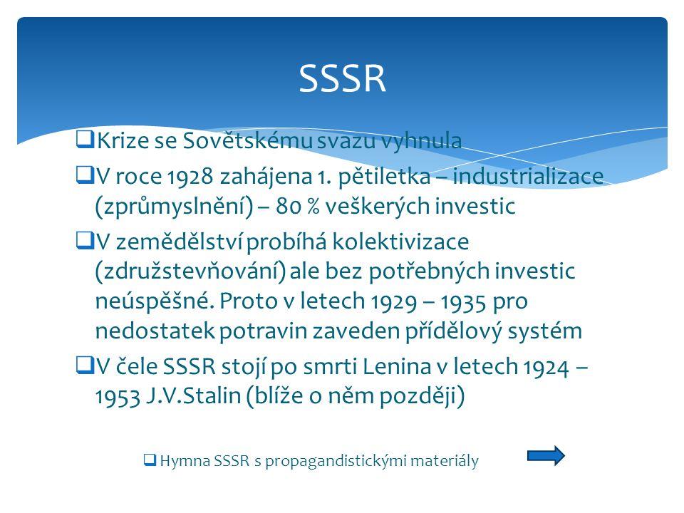  Krize se Sovětskému svazu vyhnula  V roce 1928 zahájena 1. pětiletka – industrializace (zprůmyslnění) – 80 % veškerých investic  V zemědělství pro