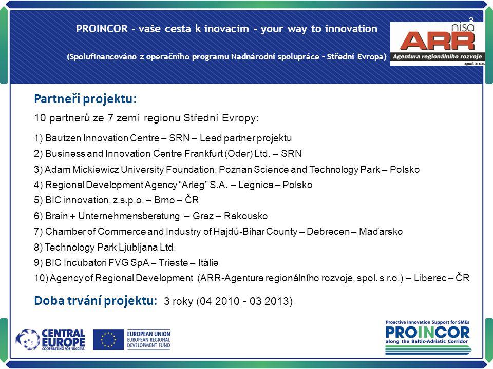 PROINCOR - vaše cesta k inovacím - your way to innovation (Spolufinancováno z operačního programu Nadnárodní spolupráce – Střední Evropa) 3 Partneři projektu: 10 partnerů ze 7 zemí regionu Střední Evropy: 1) Bautzen Innovation Centre – SRN – Lead partner projektu 2) Business and Innovation Centre Frankfurt (Oder) Ltd.