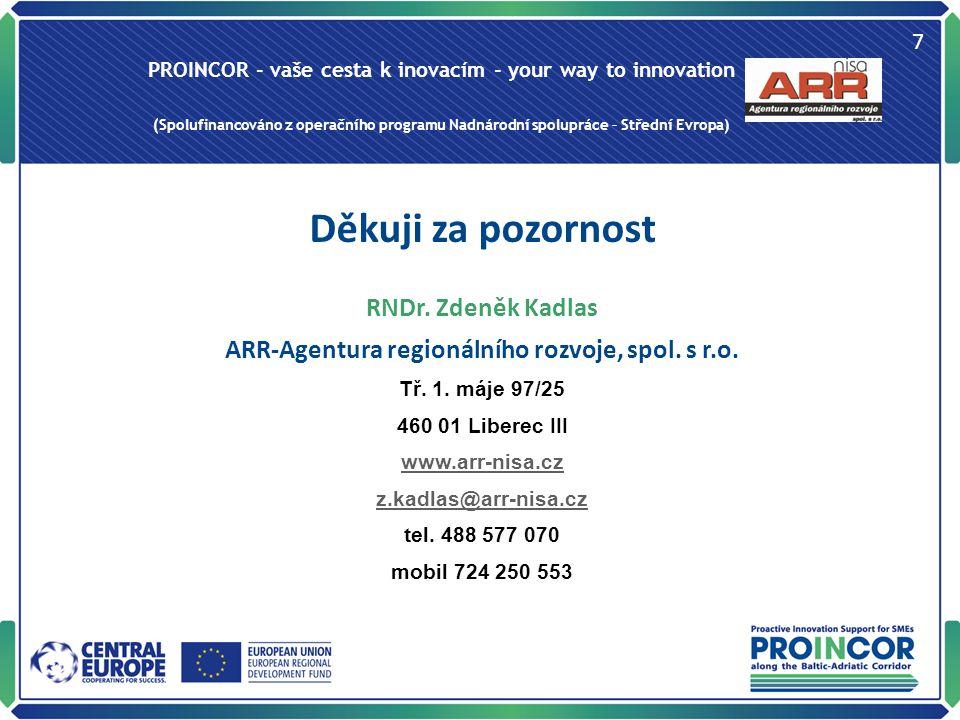 PROINCOR - vaše cesta k inovacím - your way to innovation (Spolufinancováno z operačního programu Nadnárodní spolupráce – Střední Evropa) 7 Děkuji za pozornost RNDr.