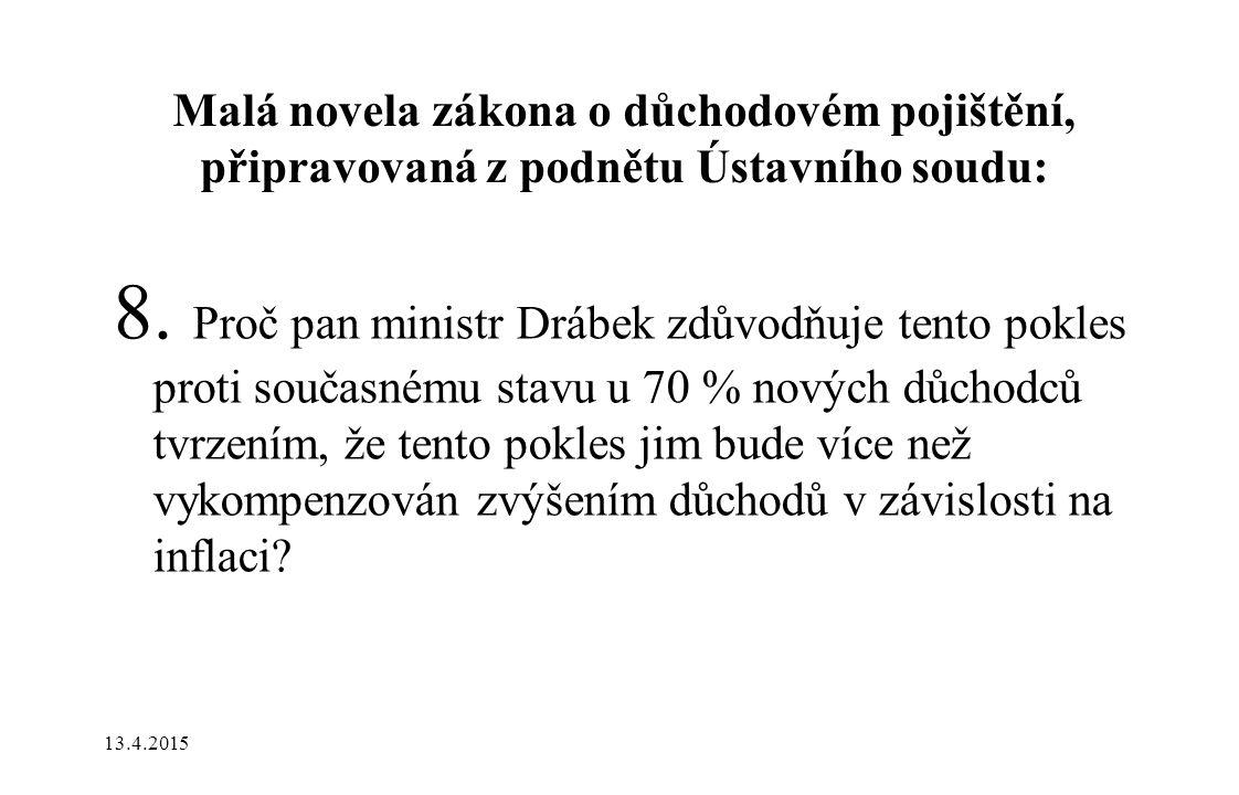 Malá novela zákona o důchodovém pojištění, připravovaná z podnětu Ústavního soudu: 8. Proč pan ministr Drábek zdůvodňuje tento pokles proti současnému