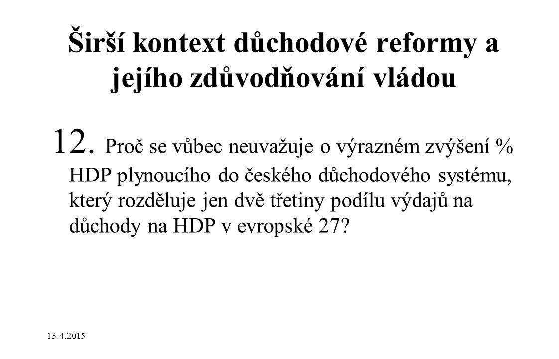Širší kontext důchodové reformy a jejího zdůvodňování vládou 12. Proč se vůbec neuvažuje o výrazném zvýšení % HDP plynoucího do českého důchodového sy