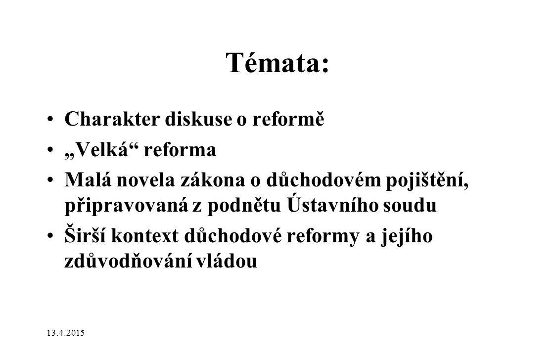 """Témata: Charakter diskuse o reformě """"Velká reforma Malá novela zákona o důchodovém pojištění, připravovaná z podnětu Ústavního soudu Širší kontext důchodové reformy a jejího zdůvodňování vládou 13.4.2015"""