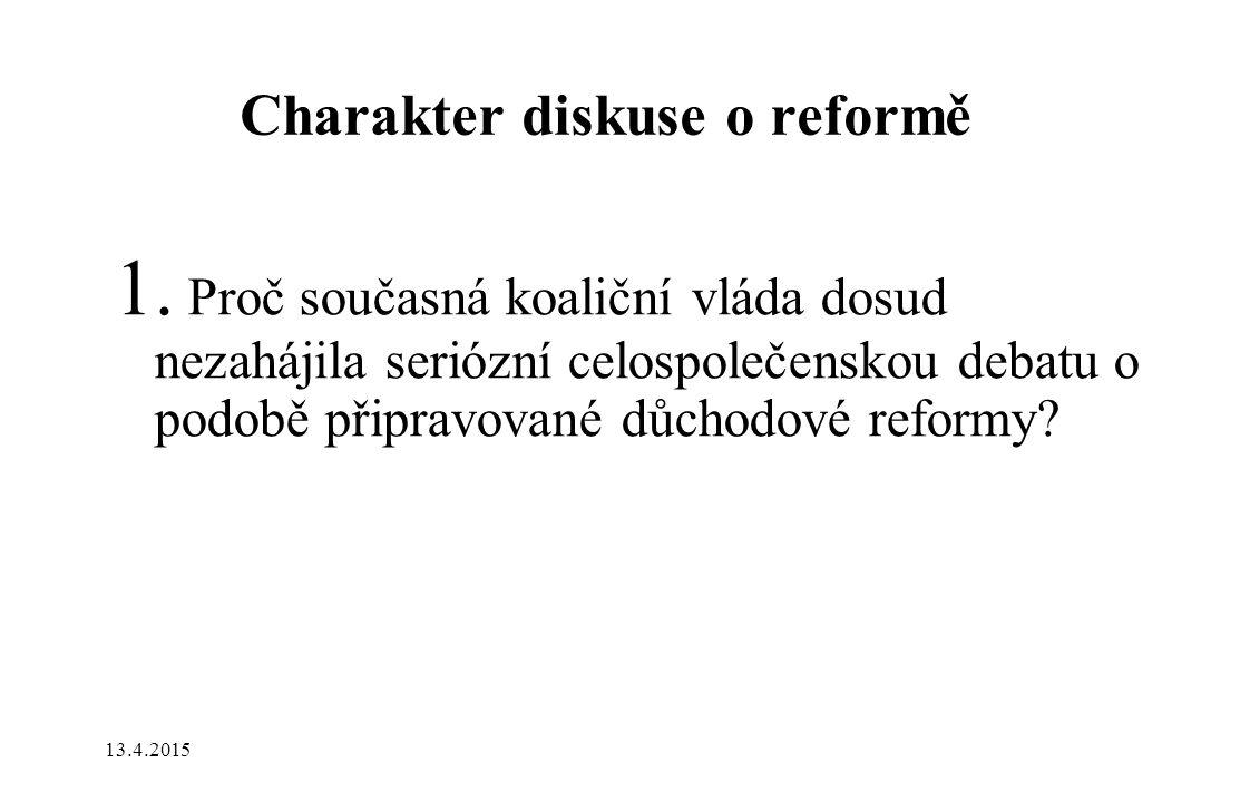 Charakter diskuse o reformě 1.