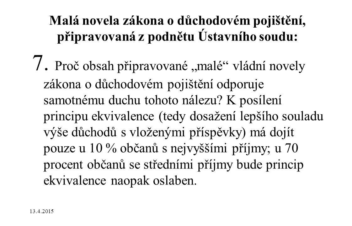 Malá novela zákona o důchodovém pojištění, připravovaná z podnětu Ústavního soudu: 7.