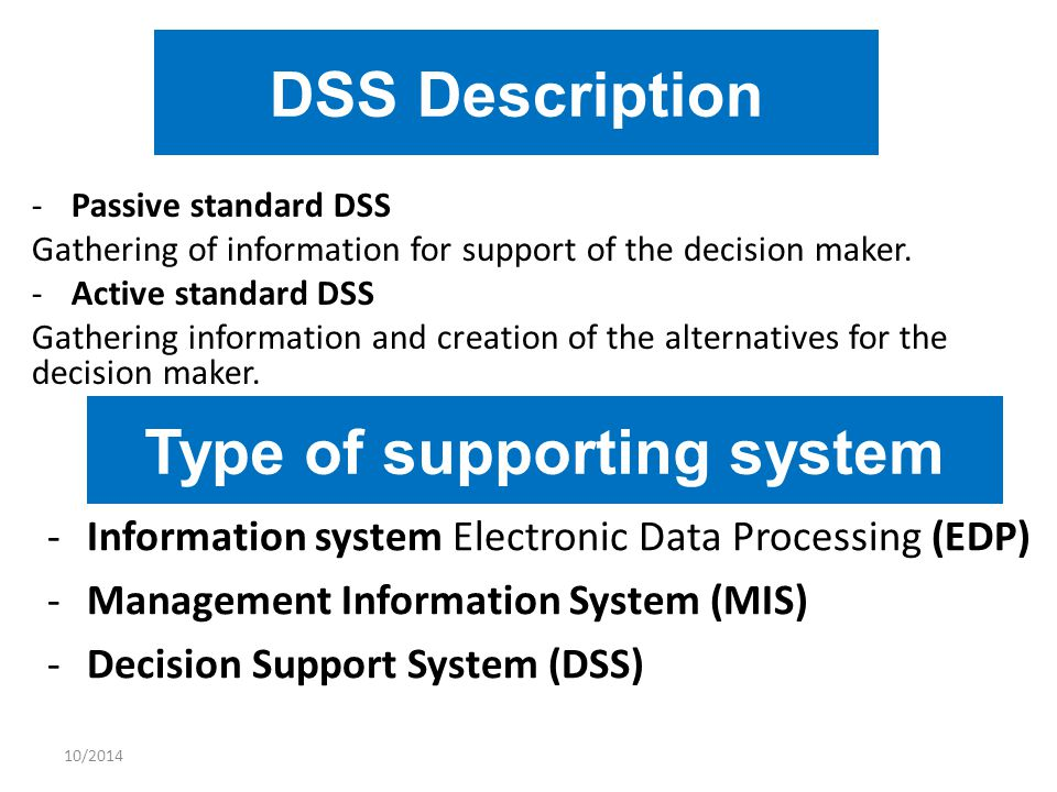 10/2014 DSS Description -Passive standard DSS Gathering of information for support of the decision maker. -Active standard DSS Gathering information a