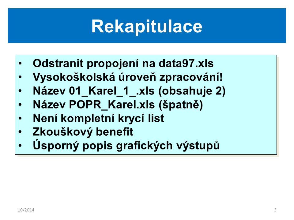 10/20143 Rekapitulace Odstranit propojení na data97.xls Vysokoškolská úroveň zpracování! Název 01_Karel_1_.xls (obsahuje 2) Název POPR_Karel.xls (špat