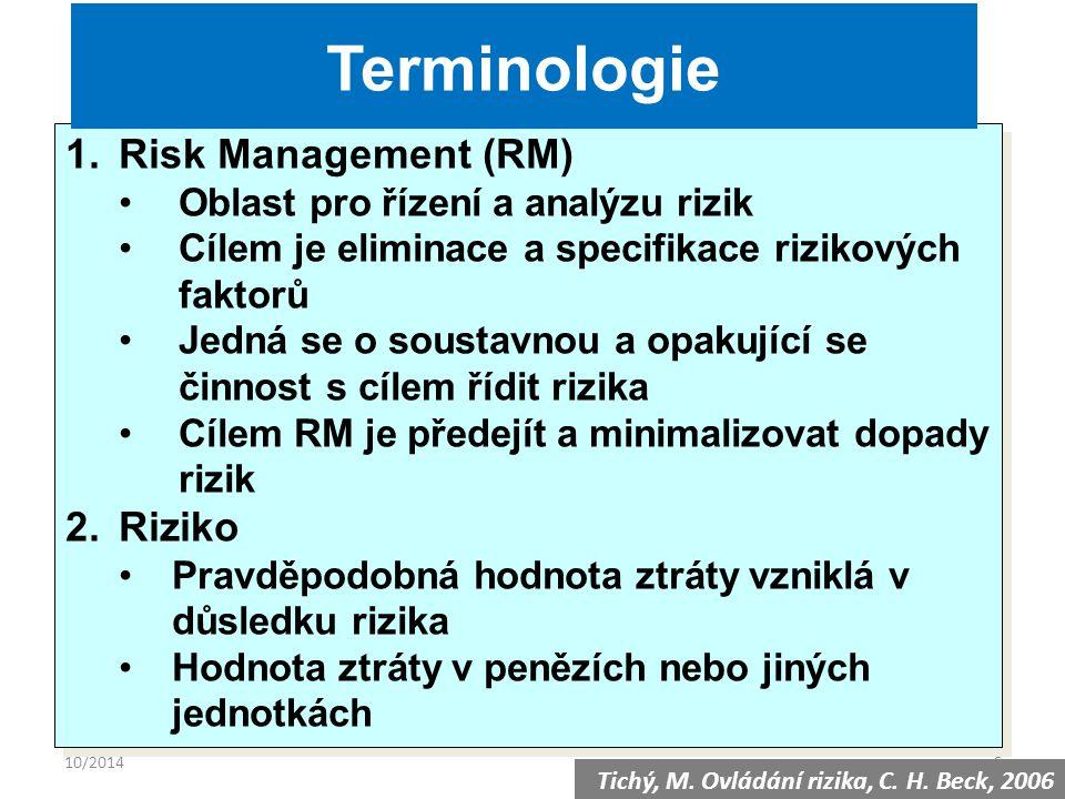 10/20146 1.Risk Management (RM) Oblast pro řízení a analýzu rizik Cílem je eliminace a specifikace rizikových faktorů Jedná se o soustavnou a opakující se činnost s cílem řídit rizika Cílem RM je předejít a minimalizovat dopady rizik 2.Riziko Pravděpodobná hodnota ztráty vzniklá v důsledku rizika Hodnota ztráty v penězích nebo jiných jednotkách 1.Risk Management (RM) Oblast pro řízení a analýzu rizik Cílem je eliminace a specifikace rizikových faktorů Jedná se o soustavnou a opakující se činnost s cílem řídit rizika Cílem RM je předejít a minimalizovat dopady rizik 2.Riziko Pravděpodobná hodnota ztráty vzniklá v důsledku rizika Hodnota ztráty v penězích nebo jiných jednotkách Terminologie Tichý, M.