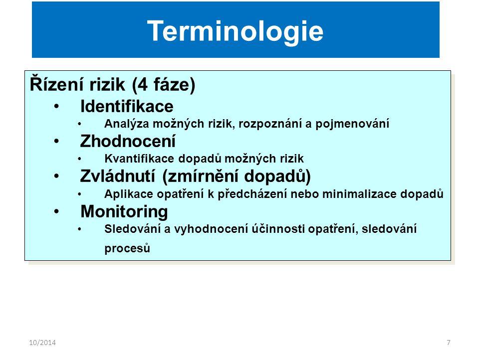 10/20147 Řízení rizik (4 fáze) Identifikace Analýza možných rizik, rozpoznání a pojmenování Zhodnocení Kvantifikace dopadů možných rizik Zvládnutí (zmírnění dopadů) Aplikace opatření k předcházení nebo minimalizace dopadů Monitoring Sledování a vyhodnocení účinnosti opatření, sledování procesů Řízení rizik (4 fáze) Identifikace Analýza možných rizik, rozpoznání a pojmenování Zhodnocení Kvantifikace dopadů možných rizik Zvládnutí (zmírnění dopadů) Aplikace opatření k předcházení nebo minimalizace dopadů Monitoring Sledování a vyhodnocení účinnosti opatření, sledování procesů Terminologie