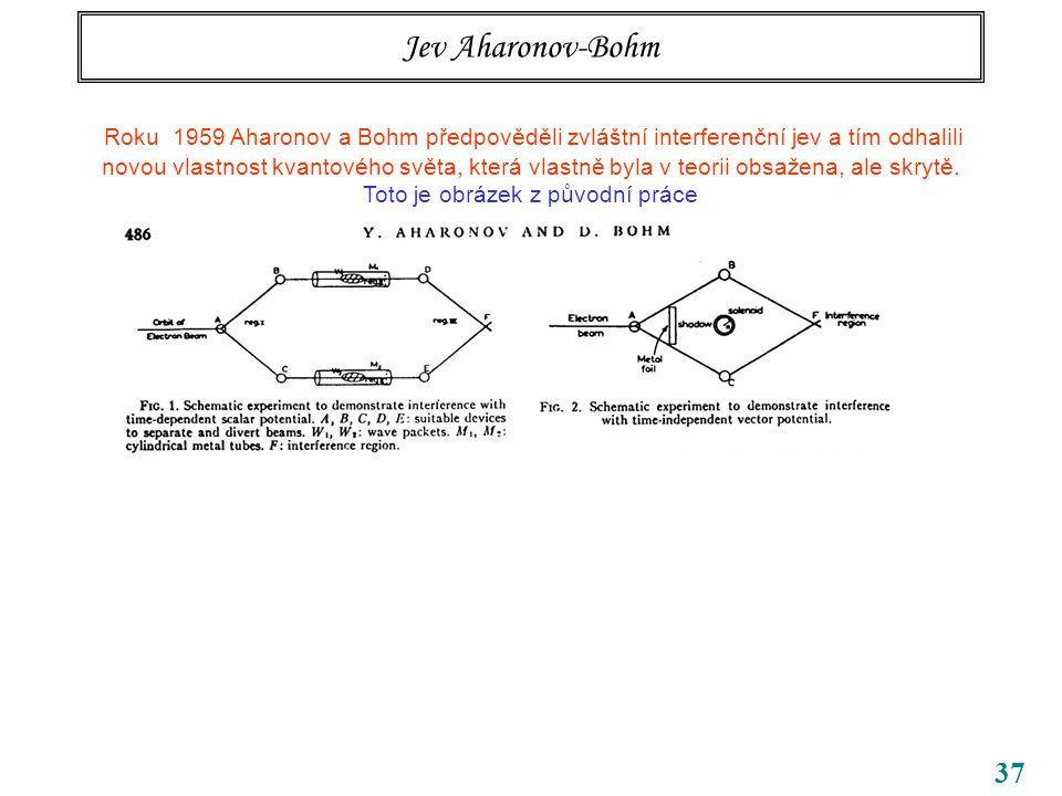 37 Jev Aharonov-Bohm Roku 1959 Aharonov a Bohm předpověděli zvláštní interferenční jev a tím odhalili novou vlastnost kvantového světa, která vlastně byla v teorii obsažena, ale skrytě.