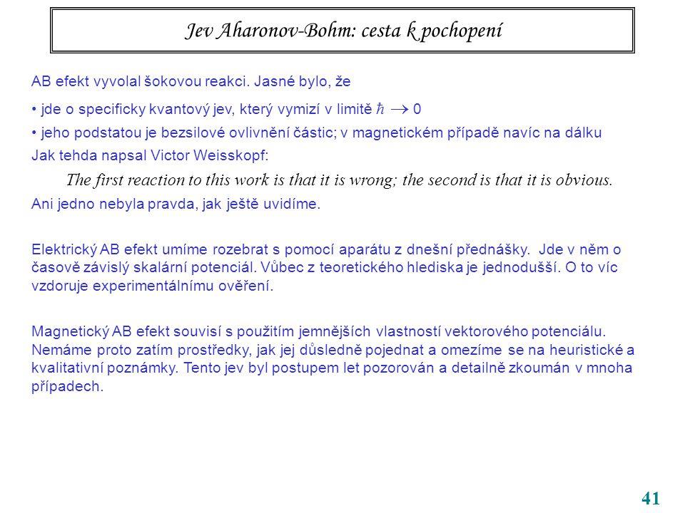 41 Jev Aharonov-Bohm: cesta k pochopení AB efekt vyvolal šokovou reakci. Jasné bylo, že jde o specificky kvantový jev, který vymizí v limitě   0 jeh