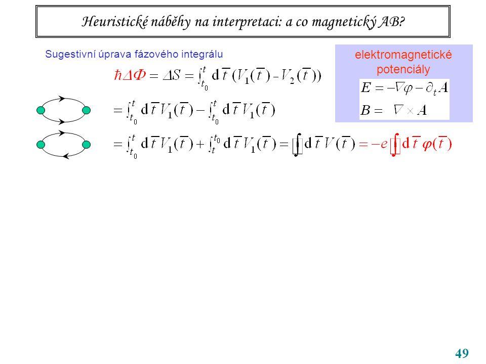 49 Tři body k zapamatování bezsilové působení na dálku potenciály samy, ne jen pole (tedy jejich derivace) vedou k pozorovatelným efektům příslušné kvantování souvisí s topologií úlohy … topologická kvantová čísla Heuristické náběhy na interpretaci: a co magnetický AB.