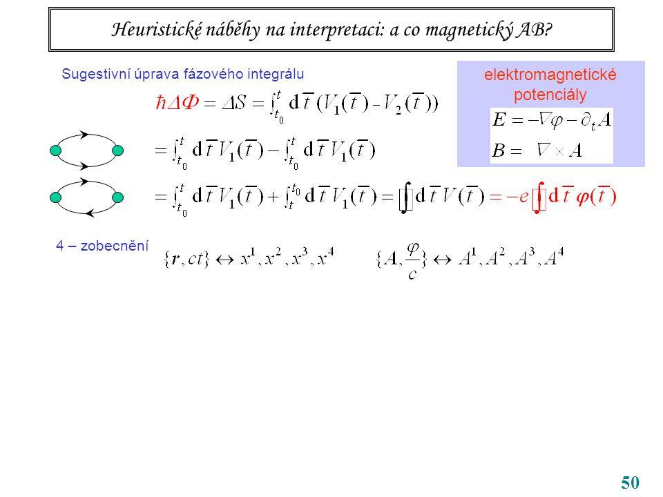 50 Tři body k zapamatování bezsilové působení na dálku potenciály samy, ne jen pole (tedy jejich derivace) vedou k pozorovatelným efektům příslušné kvantování souvisí s topologií úlohy … topologická kvantová čísla Heuristické náběhy na interpretaci: a co magnetický AB.