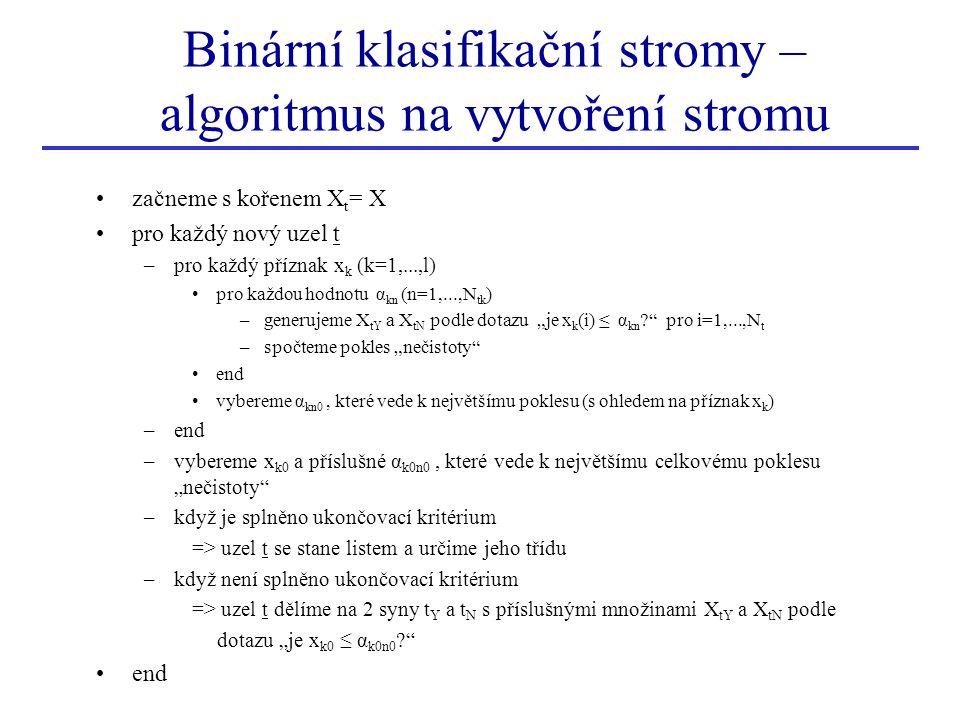 """Binární klasifikační stromy – algoritmus na vytvoření stromu začneme s kořenem X t = X pro každý nový uzel t –pro každý příznak x k (k=1,...,l) pro každou hodnotu α kn (n=1,...,N tk ) –generujeme X tY a X tN podle dotazu """"je x k (i) ≤ α kn ? pro i=1,...,N t –spočteme pokles """"nečistoty end vybereme α kn0, které vede k největšímu poklesu (s ohledem na příznak x k ) –end –vybereme x k0 a příslušné α k0n0, které vede k největšímu celkovému poklesu """"nečistoty –když je splněno ukončovací kritérium => uzel t se stane listem a určime jeho třídu –když není splněno ukončovací kritérium => uzel t dělíme na 2 syny t Y a t N s příslušnými množinami X tY a X tN podle dotazu """"je x k0 ≤ α k0n0 ? end"""