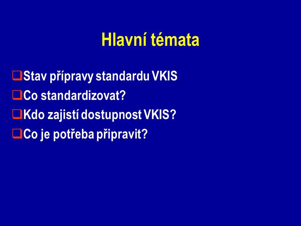 Hlavní témata  Stav přípravy standardu VKIS  Co standardizovat?  Kdo zajistí dostupnost VKIS?  Co je potřeba připravit?