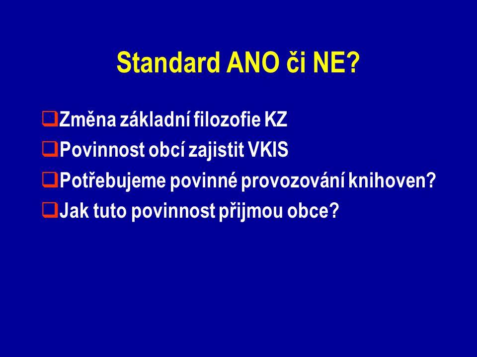 Standard ANO či NE?  Změna základní filozofie KZ  Povinnost obcí zajistit VKIS  Potřebujeme povinné provozování knihoven?  Jak tuto povinnost přij
