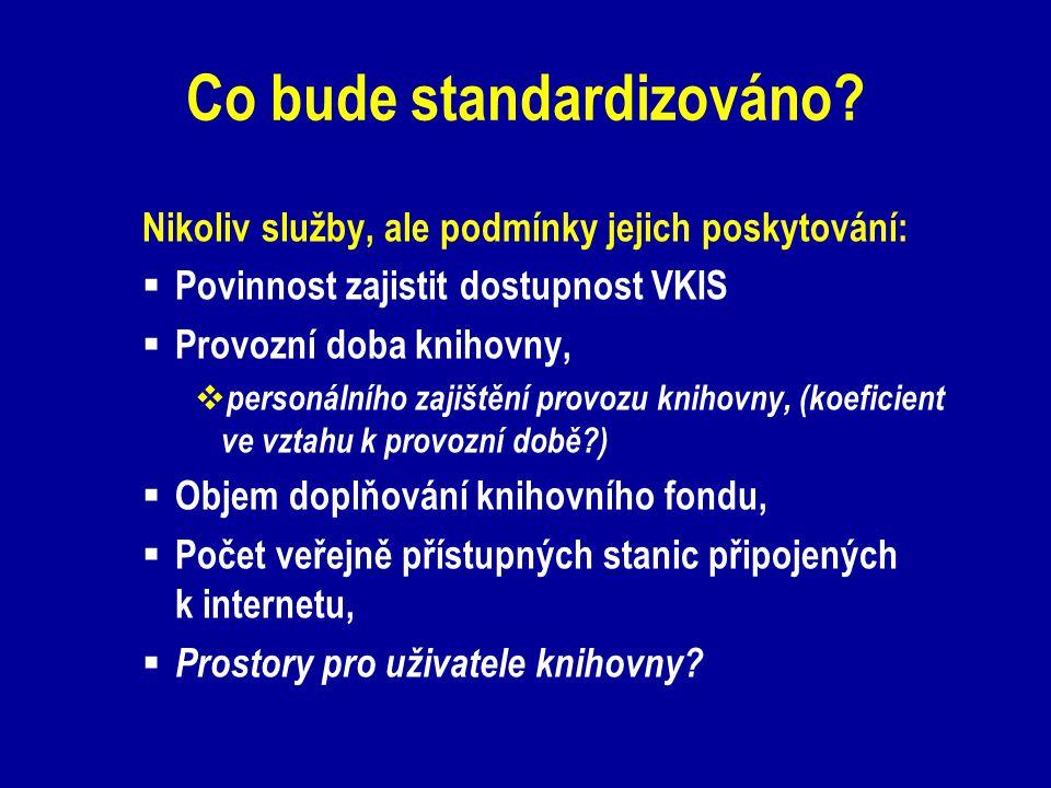 Co bude standardizováno? Nikoliv služby, ale podmínky jejich poskytování:  Povinnost zajistit dostupnost VKIS  Provozní doba knihovny,  personálníh
