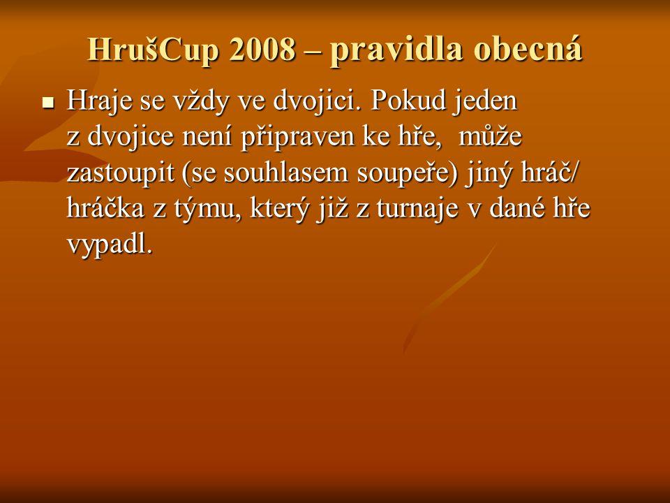 HrušCup 2008 – pravidla obecná Hraje se vždy ve dvojici.