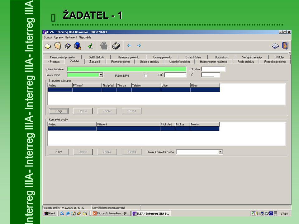  ULOŽENÍ ŽÁDOSTI 1.Průběžné ukládání žádosti – soubor s příponou.ben 2.Finální uložení žádosti – soubor s příponou.xml, vytvoření unikátního identifikačního kódu žádosti 3.Tisk – po finálním uložení žádosti 4.Žádost o platbu – generuje se po finálním uložení žádosti
