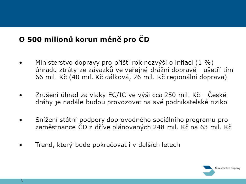 3 O 500 milionů korun méně pro ČD Ministerstvo dopravy pro příští rok nezvýší o inflaci (1 %) úhradu ztráty ze závazků ve veřejné drážní dopravě - ušetří tím 66 mil.