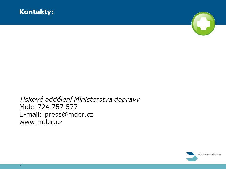 7 Kontakty: Tiskové oddělení Ministerstva dopravy Mob: 724 757 577 E-mail: press@mdcr.cz www.mdcr.cz