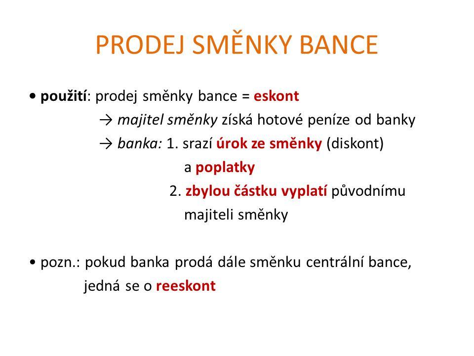 PRODEJ SMĚNKY BANCE použití: prodej směnky bance = eskont → majitel směnky získá hotové peníze od banky → banka: 1.