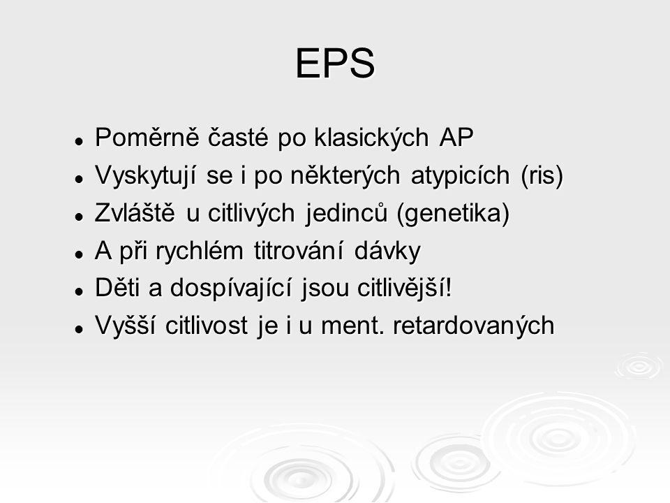 EPS Poměrně časté po klasických AP Poměrně časté po klasických AP Vyskytují se i po některých atypicích (ris) Vyskytují se i po některých atypicích (ris) Zvláště u citlivých jedinců (genetika) Zvláště u citlivých jedinců (genetika) A při rychlém titrování dávky A při rychlém titrování dávky Děti a dospívající jsou citlivější.