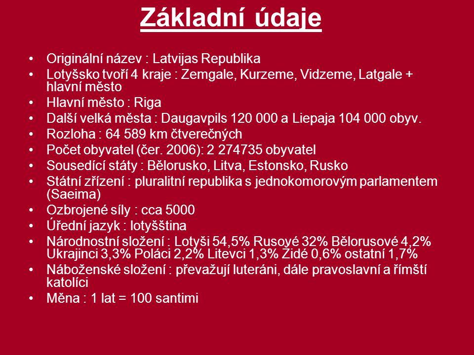 Základní údaje Originální název : Latvijas Republika Lotyšsko tvoří 4 kraje : Zemgale, Kurzeme, Vidzeme, Latgale + hlavní město Hlavní město : Riga Da