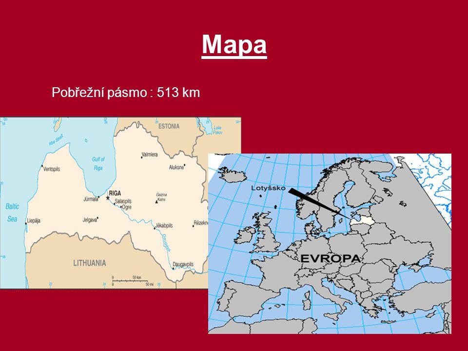Mapa Pobřežní pásmo : 513 km