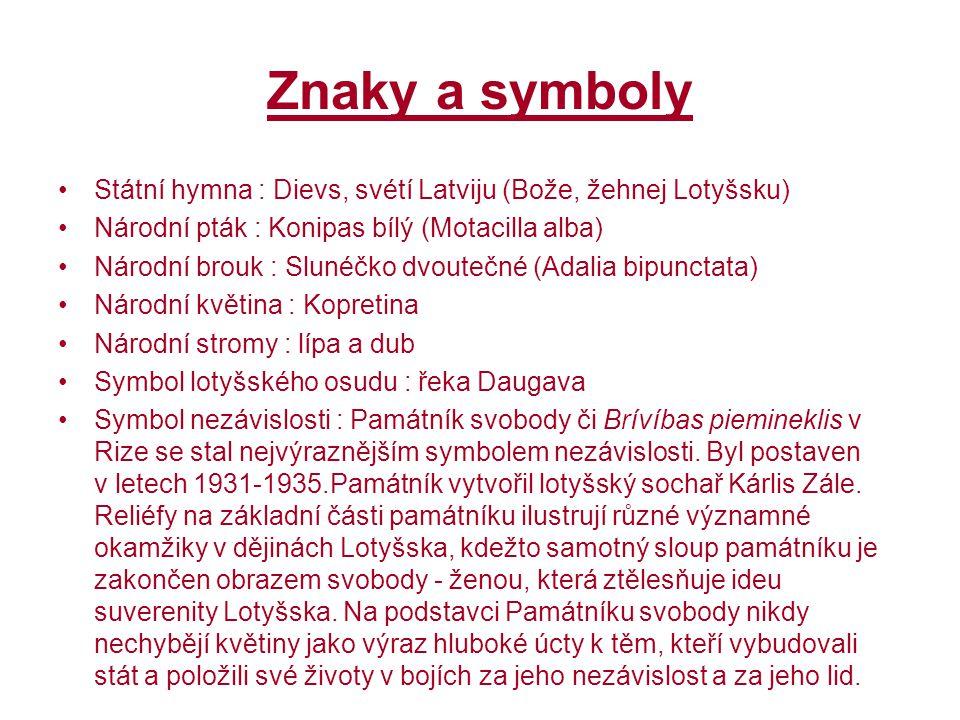 Znaky a symboly Státní hymna : Dievs, svétí Latviju (Bože, žehnej Lotyšsku) Národní pták : Konipas bílý (Motacilla alba) Národní brouk : Slunéčko dvou