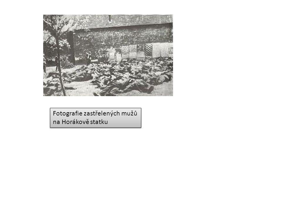 Fotografie zastřelených mužů na Horákově statku Fotografie zastřelených mužů na Horákově statku