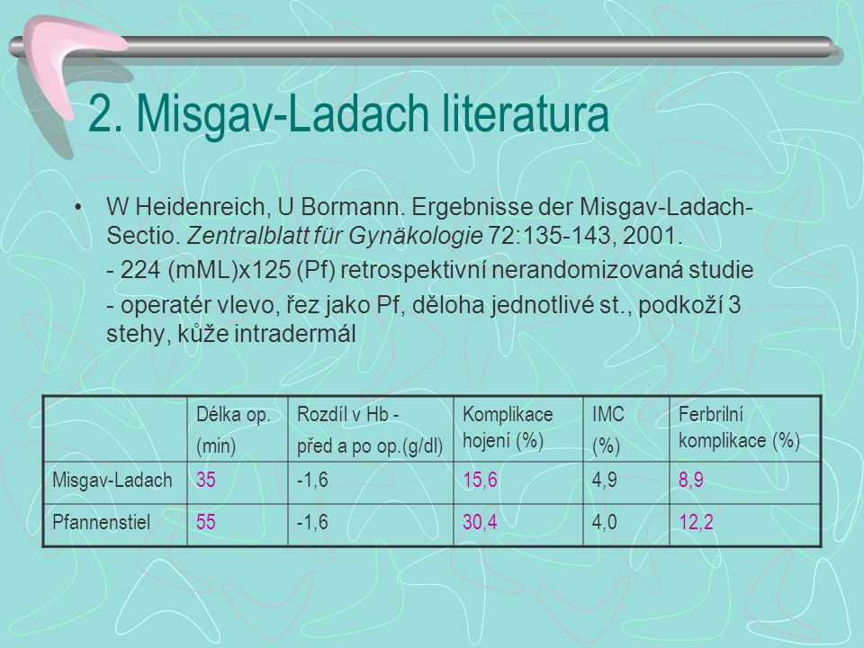 2.Misgav-Ladach literatura A. G. Ferrari, L. G. Frigerio, G.